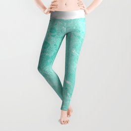 Modern turquoise white abstract marble pattern Leggings