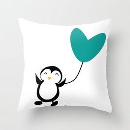 Penguin in love White Throw Pillow