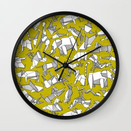 origami animal ditsy chartreuse Wall Clock