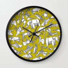 origami animal ditsy chartreuse Wall Clock