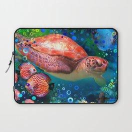 Sea Turtle In Blue Water Laptop Sleeve