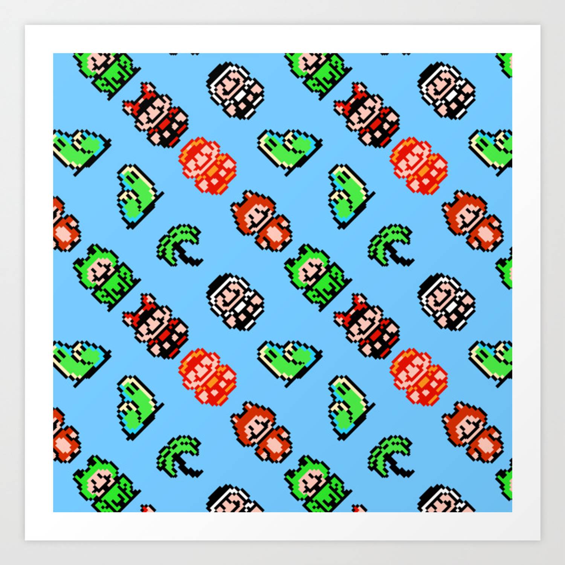 Super Mar O Bros 3 Blue Sky Retrogaming Pattern Art Print By Danteasano Society6