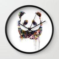 panda Wall Clocks featuring panda by ururuty