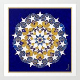 Star Mandala in Gold and Blue Art Print