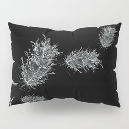 Flying Feathers Black and White Pillow Sham