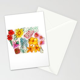Hand Painted Iowa State Map Stationery Cards