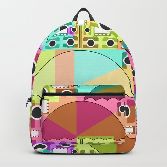 Camera pattern with colorful umbrellas Backpack