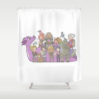 dragon age Shower Curtains featuring Dragon Age - Origins Companions by Choco-Minto