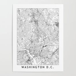 Washington D.C. White Map Poster