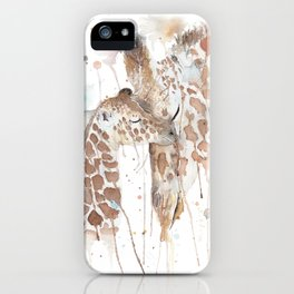 """Watercolor Painting of Picture """"Mother and Son"""" iPhone Case"""