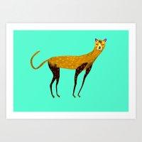 cheetah Art Prints featuring Cheetah  by Ashley Percival illustration