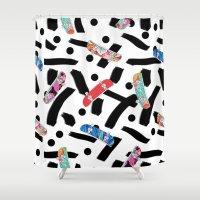 skate Shower Curtains featuring Skate by Lara Gurney