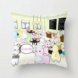 Alpaca Dreams Café  Throw Pillow