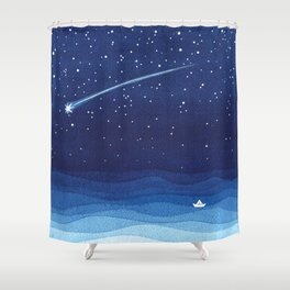 Falling star, shooting star, sailboat ocean waves blue sea Shower Curtain