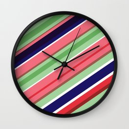 Mint Stripe 01 Wall Clock