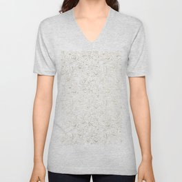 Elegant simple modern faux gold white floral Unisex V-Neck