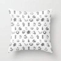 fruits Throw Pillows featuring Fruits by Tyhe Reading