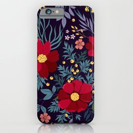 Bold Beautiful Graphic Floral Pattern Floral Kingdom Flowers Glowing Red Flower Garden Night Magic iPhone Case