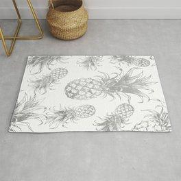 grayscale pineapple pattern, vintage tropical desing Rug
