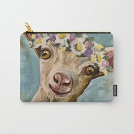 Flower Crown Goat, Farm Animal Painting Carry-All Pouch