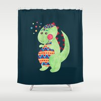 dino Shower Curtains featuring Green Dino by haidishabrina