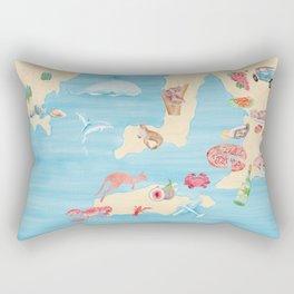Watercolor Illustration of Australian animals and food on Australia map Rectangular Pillow