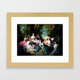 "Franz Xaver Winterhalter's masterpiece ""The Empress Eugenie surrounded by her Ladies in waiting"" Framed Art Print"