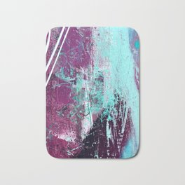 01012: a vibrant abstract piece in teal and ultraviolet Bath Mat