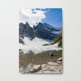 Lake Agnes, Banff, Canada with snow Metal Print