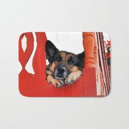 Sad Dog In Red Balcony. Closer Photo Bath Mat