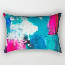 Look on the bright side | neon pink blue brushstrokes abstract acrylic painting Rectangular Pillow