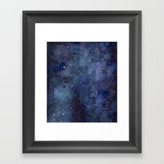 Night Sky Stars Galaxy | Watercolor Nebula Framed Art Print