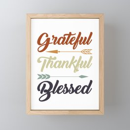 Grateful Thankful Blessed Framed Mini Art Print