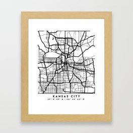 KANSAS CITY MISSOURI BLACK CITY STREET MAP ART Framed Art Print