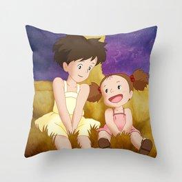 Mei & Satsuki Inside the Catbus Throw Pillow