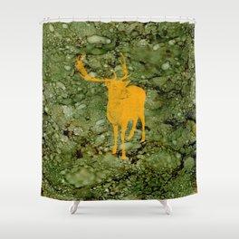 Deer on Green Camo Shower Curtain