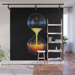 Old flame / 3D render of hourglass flowing liquid fire Wall Mural