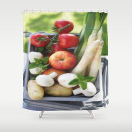 Wooden box with fresh fruit and vegetables Shower Curtain