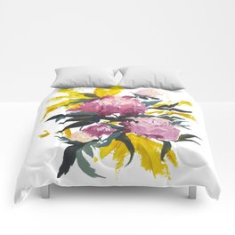 pivoine violette avec jaune Comforters