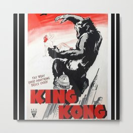 Vintage 1933 Version of RKO's King Kong Movie Cinema Poster Wall Art Metal Print