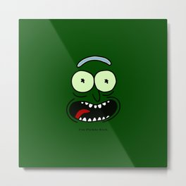 Funny PICKLE RICK FACE Movie Metal Print