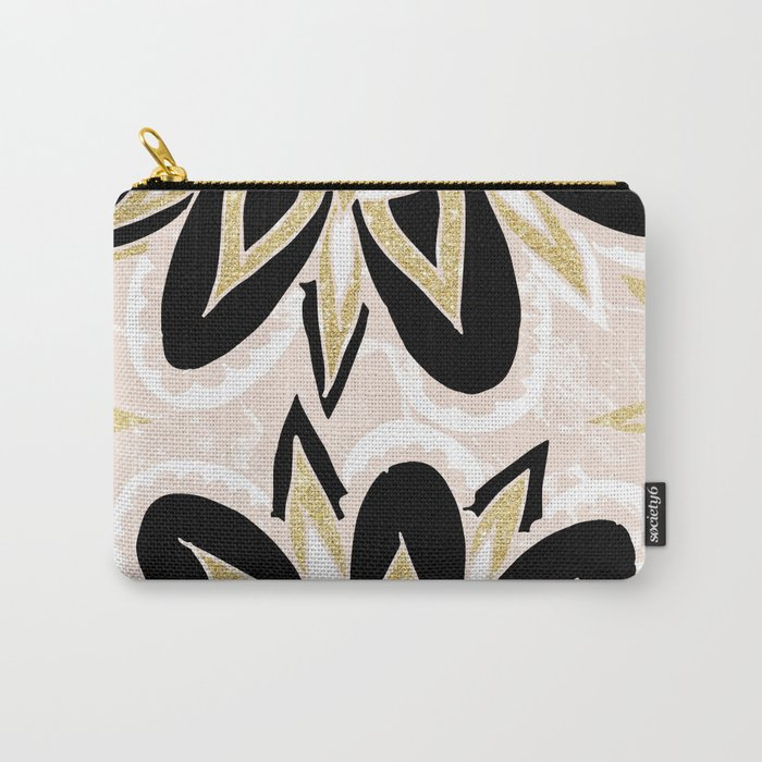 Modern black gold pink abstract floral pattern Carry-All Pouch