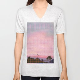 Plaid Landscape Tranquil Sunset Unisex V-Neck
