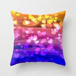 Lovely Hearts, Bokeh Throw Pillow
