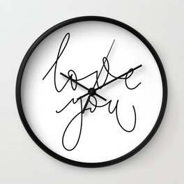 Minimalist lettering love you in English on white background Wall Clock