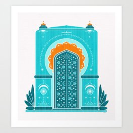 Boho Inspired Architecture ~ Aqua an Orange Art Print
