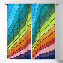 Rainbow Fan Color Blocks Blackout Curtain