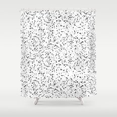 Speckles I: Double Black on White Shower Curtain