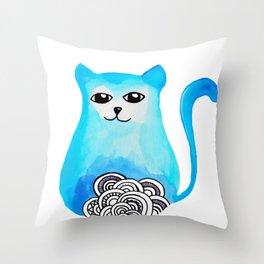 cat blue Throw Pillow