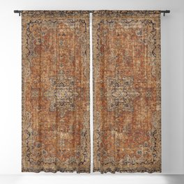Antique Persian Mustard Rug Blackout Curtain